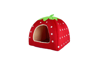 Strawberry Style Sponge House Pet Bed Dome Tent Warm Cushion Basket Red M