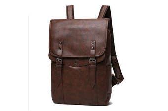 Men Vintage Casual Backpack Soft Leather Laptop Bag BROWN COLOR