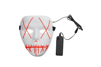 Battery Operated Halloween Voice Control LED Mask 3 Modes EL Wire Light Up The Purge Movie Costume Party