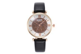 Crystal Elegant Design Ladies Watch Leather Band Quartz Watches BLACK COLOUR