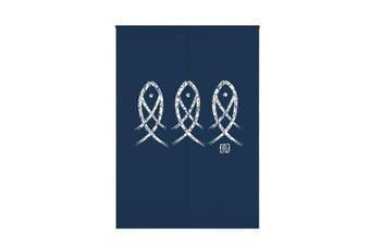 Blue Fish Printed Japanese Noren Doorway Curtain Kitchen Room Door Curtains Decor