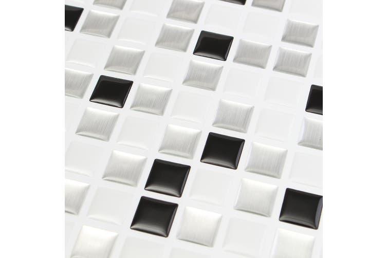 Modern Black White 3d Brick Mosaic Tile Wall Paper Foil Bathroom Kitchen Home Decor Sticker Matt Blatt