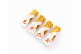 Quiet Desk And Chair Protective Footwear Cat Claw Floor Protective Mat Yellow 4Pcs