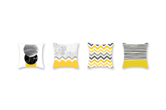 4Pcs Yellow Geometric Pillowcase Sofa Cushion Pillowcase - 1 Yellow 45X45Cm