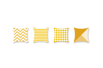 4Pcs Yellow Geometric Pillowcase Sofa Cushion Pillowcase - 2 Yellow 45X45Cm