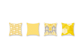 4Pcs Yellow Geometric Pillowcase Sofa Cushion Pillowcase - 3 Yellow 45X45Cm
