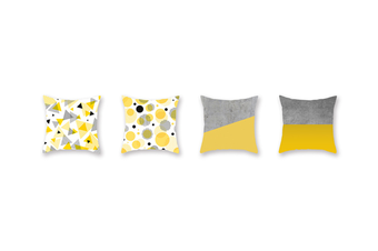 4Pcs Yellow Geometric Pillowcase Sofa Cushion Pillowcase - 4 Yellow 45X45Cm