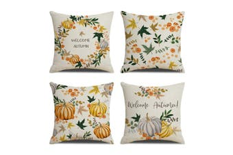 4Pcs Pumpkin Deciduous Digital Printing Pillowcase Linen Cushion Pillowcase Yellow 45X45Cm