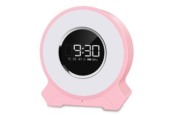 Alarm Clock Wake-up Light Wireless Audio Pat Light Night Light Colorful LED Bluetooth Speaker Light Touch Card Speaker-Pink