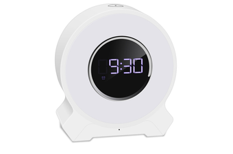 Alarm Clock Wake-up Light Wireless Audio Pat Light Night Light Colorful LED Bluetooth Speaker Light Touch Card Speaker-White