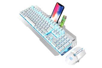 Game Luminous Wireless Keyboard and Mouse Set 2.4G Wireless Rechargeable Waterproof Keyboard and Mouse Set-White