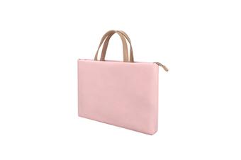 WJS 13.3 Inch Waterproof and Wear-resistant Ladies One-shoulder Portable Laptop Bag Liner Bag Business Briefcase-Pink