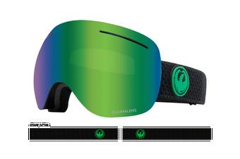 Dragon 2020 X1 Split Black w/ Green Ion LumaLens + Amber LumaLens