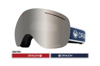 Dragon 2020 X1 Designer Black w/ Silver Ion LumaLens + Flash Blue LumaLens