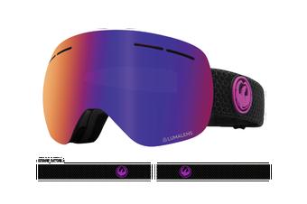 Dragon 2020 X1s Split Black w/ Purple Ion LumaLens + Amber LumaLens