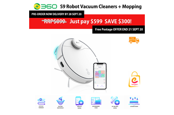 360 S9 Robot Vacuum Cleaners + Mopping Functions (Pre-Order NOW Save $300!)