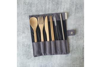 Bamboo Cutlery Set | Charcoal | Reusable Cutlery Set | Eco Cutlery Set | Plastic Free | Zero Waste | Eco Friendly