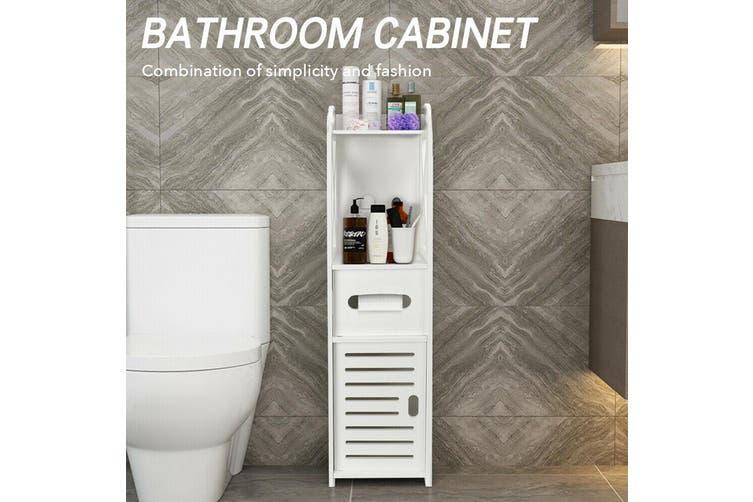 Small Bathroom Storage Corner Floor Cabinet With Doors And Shelves Thin Toilet Vanity Cabinet Narrow Bath Sink Organizer Towel Storage Shelf For Paper Holder White Matt Blatt