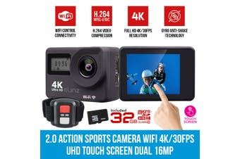 Elinz 2.0 Sports Action Camera 4K/30FPS Touch Screen Dual UHD 16MP Remote Control 32GB