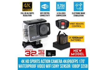Elinz 4K HD Sports Action Camera 4K@60FPS 170° Waterproof Video WiFi Sony Sensor 1080P 32gb