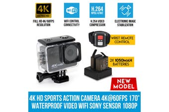 Elinz 4K HD Sports Action Camera 4K@60FPS 170° Waterproof Video WiFi Sony Sensor 1080P
