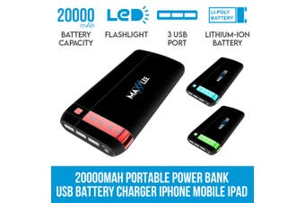 Maxxlee 20000mAh Power Bank Portable USB External Battery Charger iPhone Mobile iPad BLUE Elinz