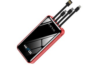 Maxxlee 20000mAh Powerbank Built-in 3 Cables High Capacity Battery Charger for Android iPhone RED