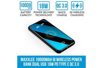 Maxxlee 10000mAh Qi Wireless Power Bank Dual USB Battery Charger 18W PD Type C QC 3.0 Fast Charging