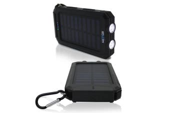 Maxxlee 10000mAh Solar Power Bank Dual USB Battery Charger Portable Flashlight Compass BLACK Elinz