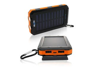 Maxxlee 10000mAh Solar Power Bank Dual USB Battery Charger Portable Flashlight Compass ORANGE Elinz