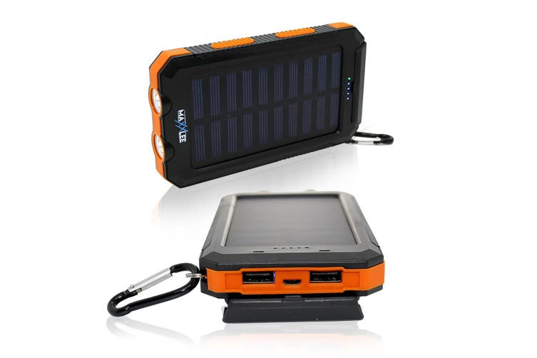 Maxxlee 10000mAh Solar Power Bank Dual USB Battery Charger Portable Flashlight Compass ORANGE Elinz