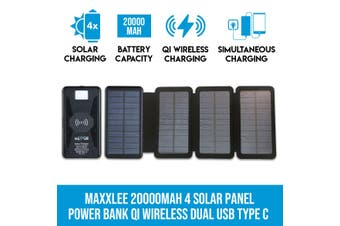 Maxxlee 20000mAh 4 Solar Panel Power Bank Qi Wireless Battery Charger Dual USB Type C
