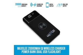Maxxlee 20000mAh Qi Wireless Charger Power Bank Dual USB Flashlight iPhone Android