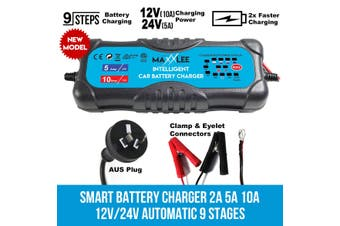 Maxxlee Smart Battery Charger 2A 5A 10A 12V/24V Automatic 9 stages SLA Car 4WD Caravan Elinz