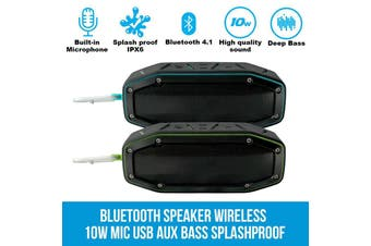 Elinz Bluetooth Speaker Wireless 10W Portable MIC USB AUX Bass Splashproof Outdoor BLUE