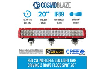"""Cosmoblaze Red 20 inch CREE LED Light Bar Driving 2 Rows Flood Spot 20"""" Truck Elinz"""