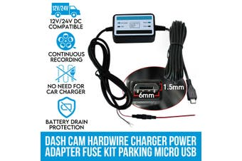 Elinz Car Dash Cam Hardwire Charger Power Adapter Fuse Kit Parking Micro USB