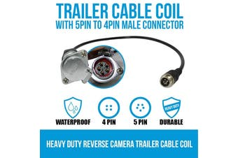 Elinz Heavy Duty Reverse Camera Trailer Cable Coil with 5PIN to 4PIN Male Connector