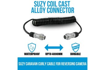 Elinz Trailer Cable Suzy Coil Cast Alloy Connector Curly for Reversing Camera Caravan