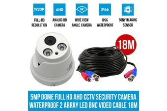 Elinz 5MP Dome Full HD AHD CCTV Security Camera Waterproof Night Vision 2 Array LED