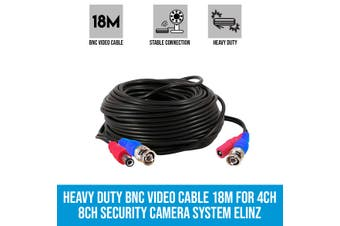 Elinz Heavy Duty BNC Video Cable 18M for 4CH 8CH Security Camera System