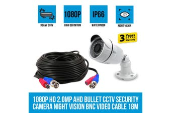 Elinz 1080P HD 2.0MP AHD Bullet CCTV Security Camera Night Vision BNC Video Cable 18M