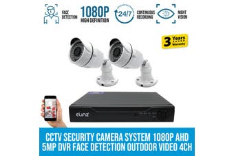 Elinz 2x CCTV Security Camera System 1080P AHD 5MP DVR Face Detection Outdoor Video 4CH