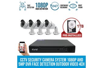 Elinz 4x CCTV Security Camera System 1080P AHD 5MP DVR Face Detection Outdoor Video 4CH 1TB Hard Drive