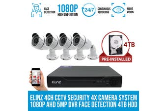 Elinz 4CH CCTV Security 4x Camera System 1080P AHD 5MP DVR Face Detection 4TB HDD