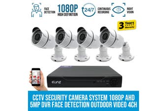 Elinz 4x CCTV Security Camera System 1080P AHD 5MP DVR Face Detection Outdoor Video 4CH