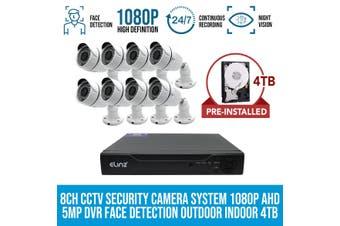 Elinz 8CH CCTV Security 8x Cameras System 1080P 4TB Face Detection DVR 5MP