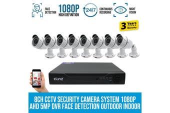 Elinz 8CH CCTV Security 8x Cameras System 1080P DVR Face Detection