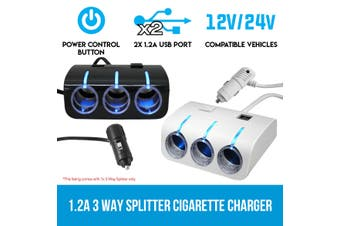 Elinz 1.2A 3 Way Splitter Car Cigarette Lighter Socket Adapter Charger 2 USB 12V 24V White