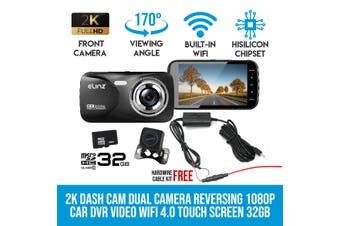 Elinz 2K Dash Cam Dual Camera Reversing 1080P Rear Car DVR Recorder Video 170° WiFi 4.0 Touch Screen 32GB
